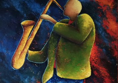 Every Breath You Take, palette knife painting of a saxophonist wearing a green jacket and a blue jeans in front of a blue and orange with red background,