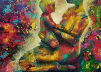 Best Place on Earth Very colorful painting of a baby on the lap of it's mum.