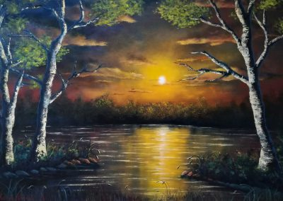 Edge of Sunset oil painting of a romantic yellow and orange sunset in a lake. There are three birch trees in the foreground.