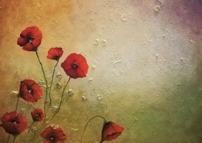 Life is but a Poppy, textured painting of a few red poppies in front of a greenish yellow background
