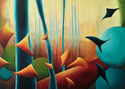 The Ravens colorful geometric abstraction of a painting of a landscape with raven in the woods.